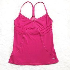 Alo Yoga pink mesh tank